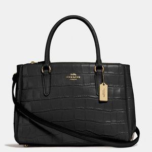 Coach Crocodile Embossed Leather Surrey Carryall